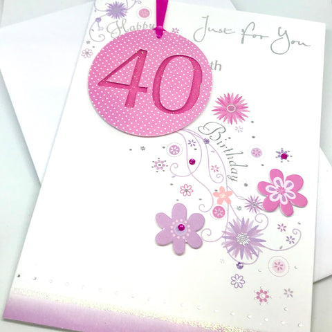 Pretty in Pink 40th Birthday Card