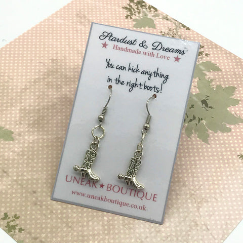 Silver Cowboy Boot Earrings