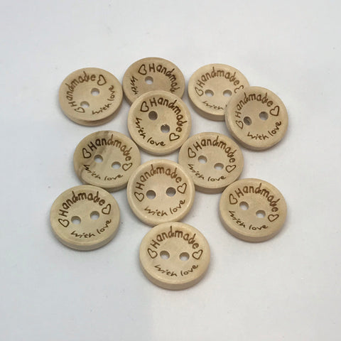 Handmade with Love Wooden Buttons 15mm