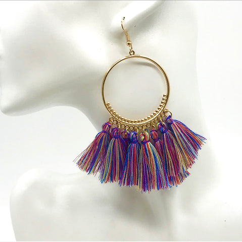 Rainbow Boho Hoop Tassel Earrings