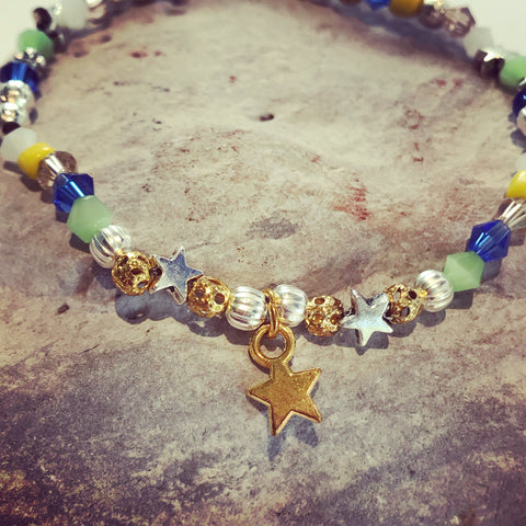 Sahara Blue and Gold Beaded Bracelet