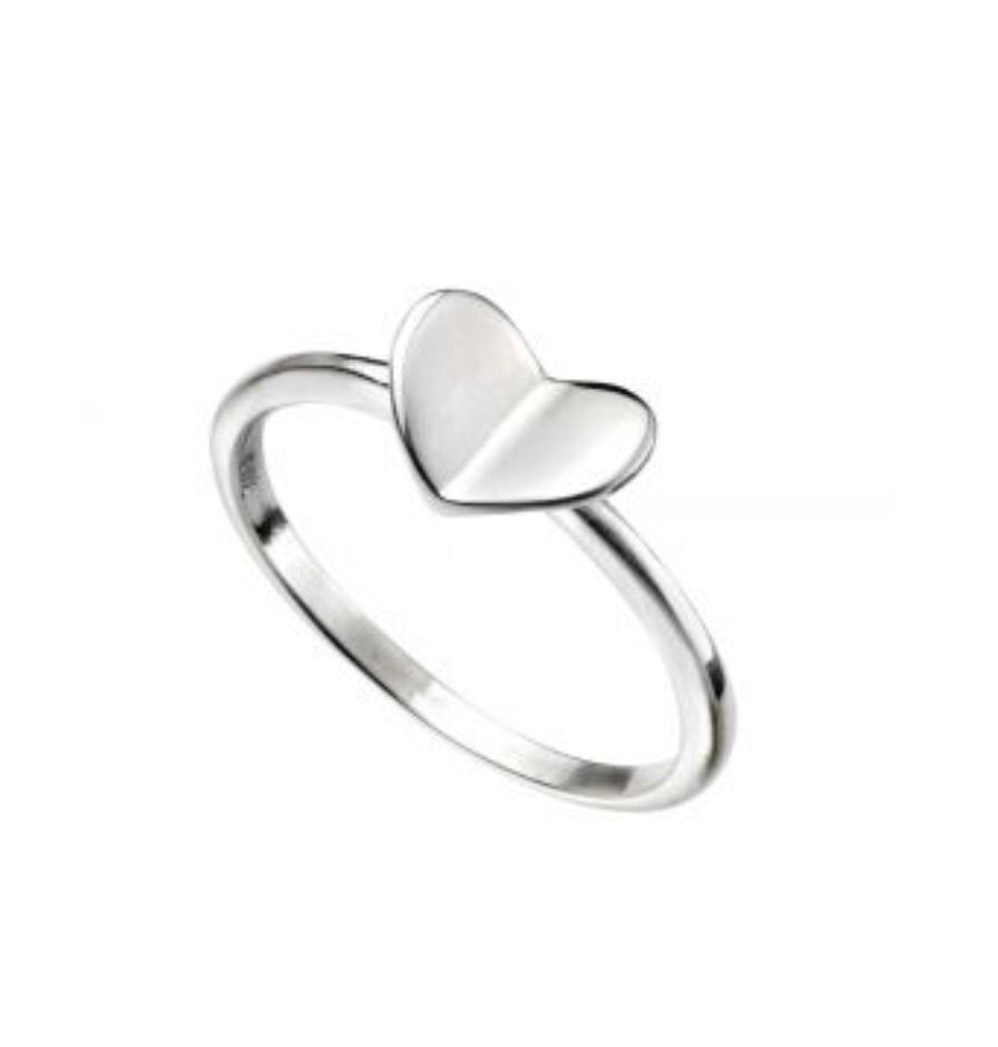 Folded Heart Sterling Silver Childrens Ring