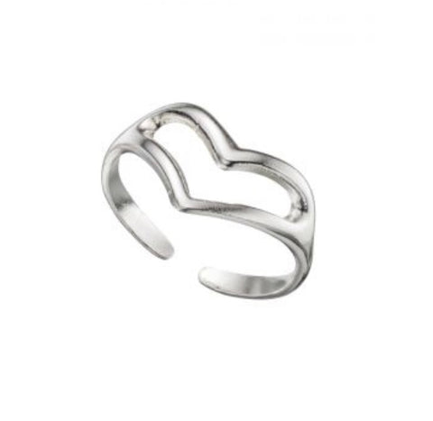 Silver Open Heart Toe Ring