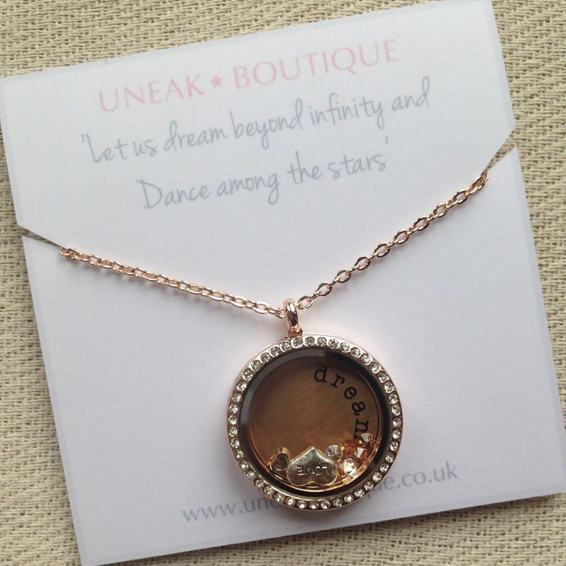 Just Dream Rose Gold Memory Locket with Floating Charms