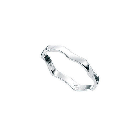 Silver Fine Wavy Band Childrens Ring