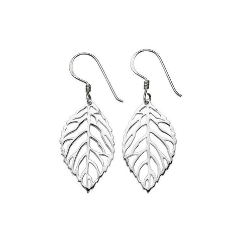 Openwork Leaf Sterling Silver Earrings