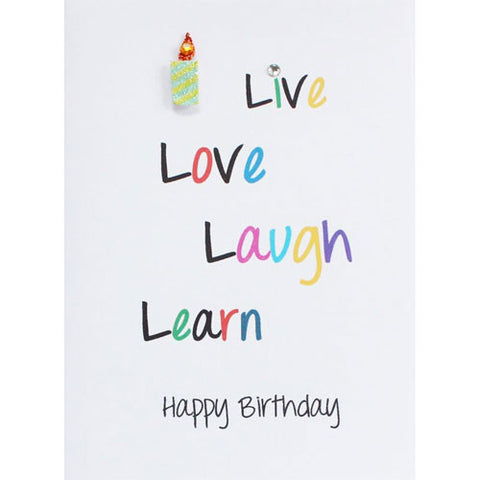 Live, Love Laugh Handmade Birthday Card