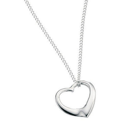 Small Open Silver Heart Necklace