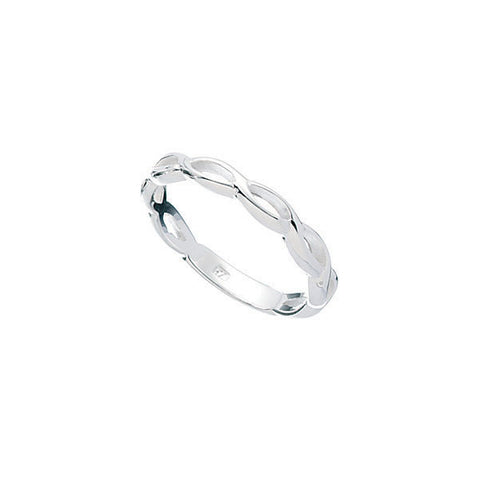 Kids Silver Ring with Open Plaited Design
