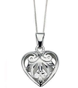 Filigree Open Silver Heart Pendant