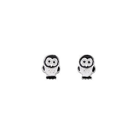 Kids Black and White Penguin Earrings