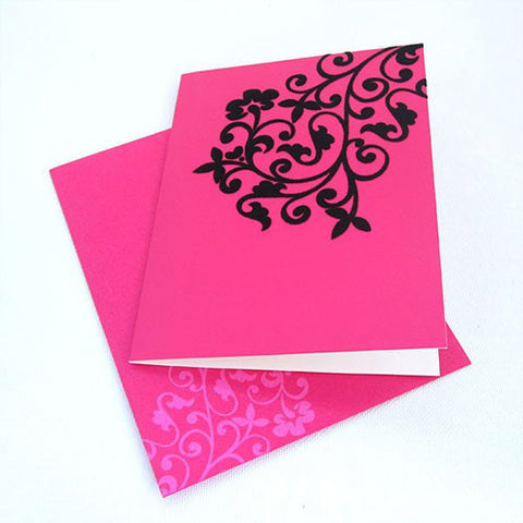 Wow Hot Pink & Black Velvet Blank Gift Card