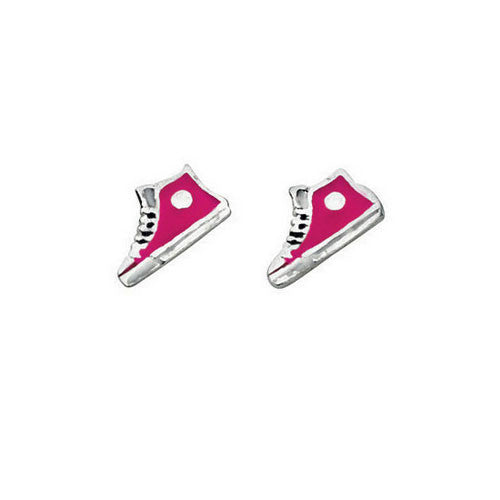 Pink Baseball Boots Kids Stud Earrings