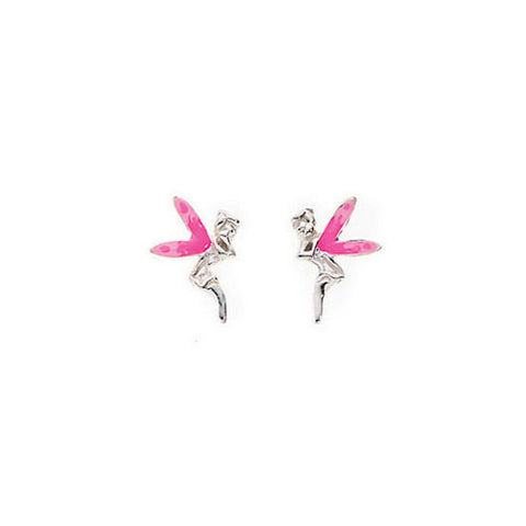 Pink Winged Fairy Stud Earrings