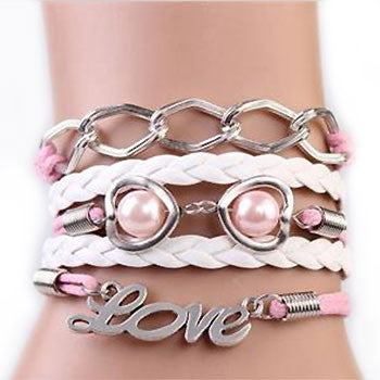 Pink Pearl Lovelinks Multi Strands Bracelet