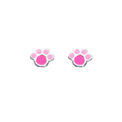 Pink Paws Stud Earrings