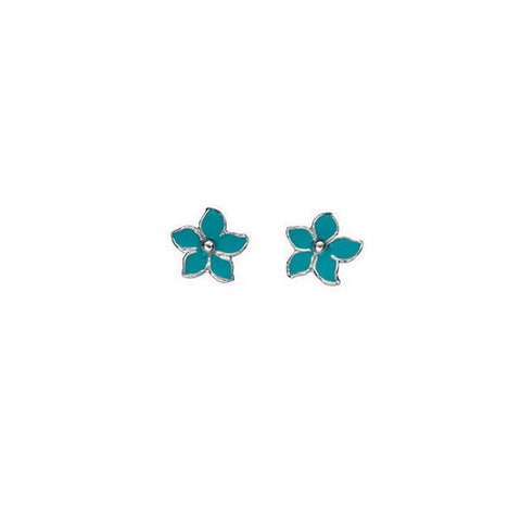 Turquoise Enamel Pointy Daisy Stud Earrings