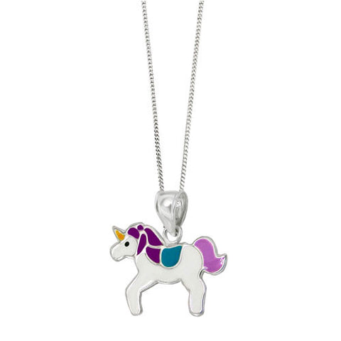 Girls Magical Sterling Silver Unicorn Pendant