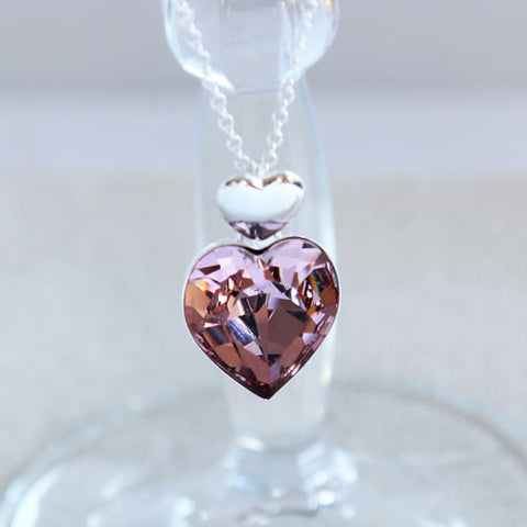Pretty in Pink Crystal Heart Pendant
