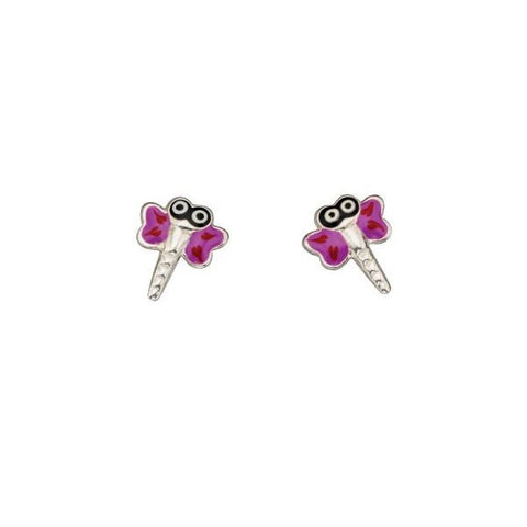 Purple Dragonfly Sterling Silver Stud Earrings