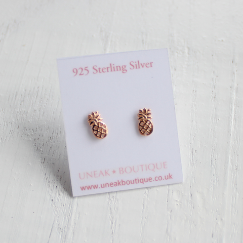 Rose Gold Pineapple Earrings