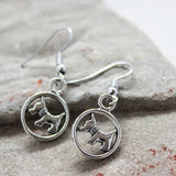 Scottie Dog Silver Drop Earrings