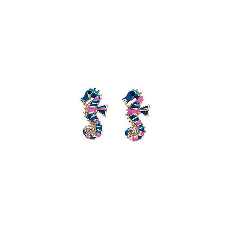 Sterling Silver Pink and Blue Seahorse Stud Earrings