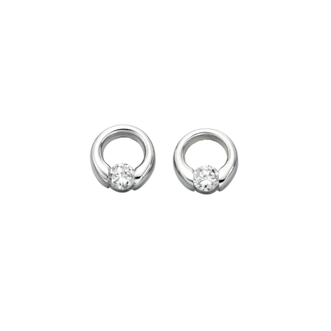 Sienna Circle Silver Earrings with Cubic Zirconia