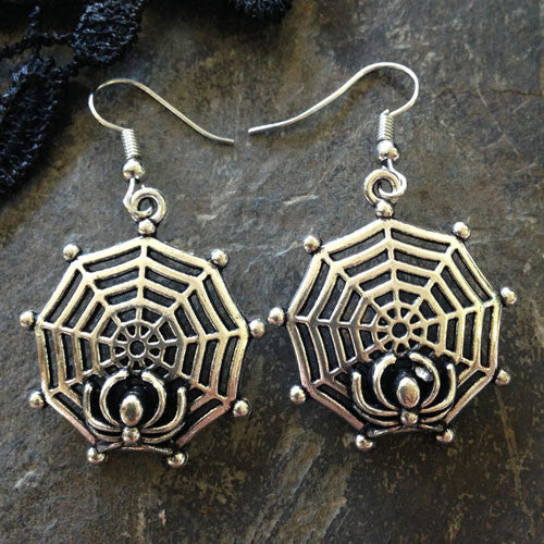 Silver Spider Web Earrings