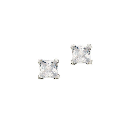 Cubic Zirconia Checkerboard Silver Earrings