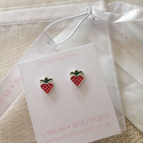 Red Enamel Strawberry Kids Earrings