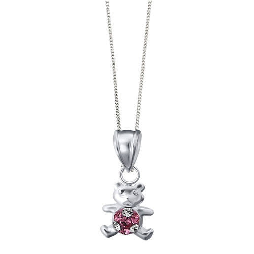 Girls Sterling Silver Bear Pendant with Pink Crystals