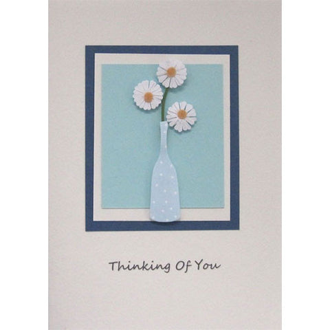 Blue Daisies Vase Thinking Of You Handmade Card