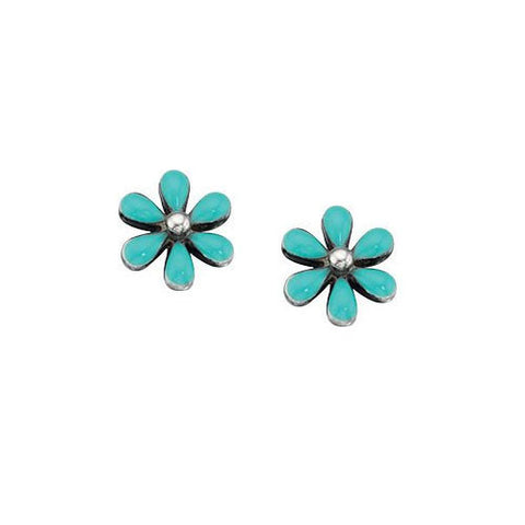 Silver Turquoise Flower Earrings