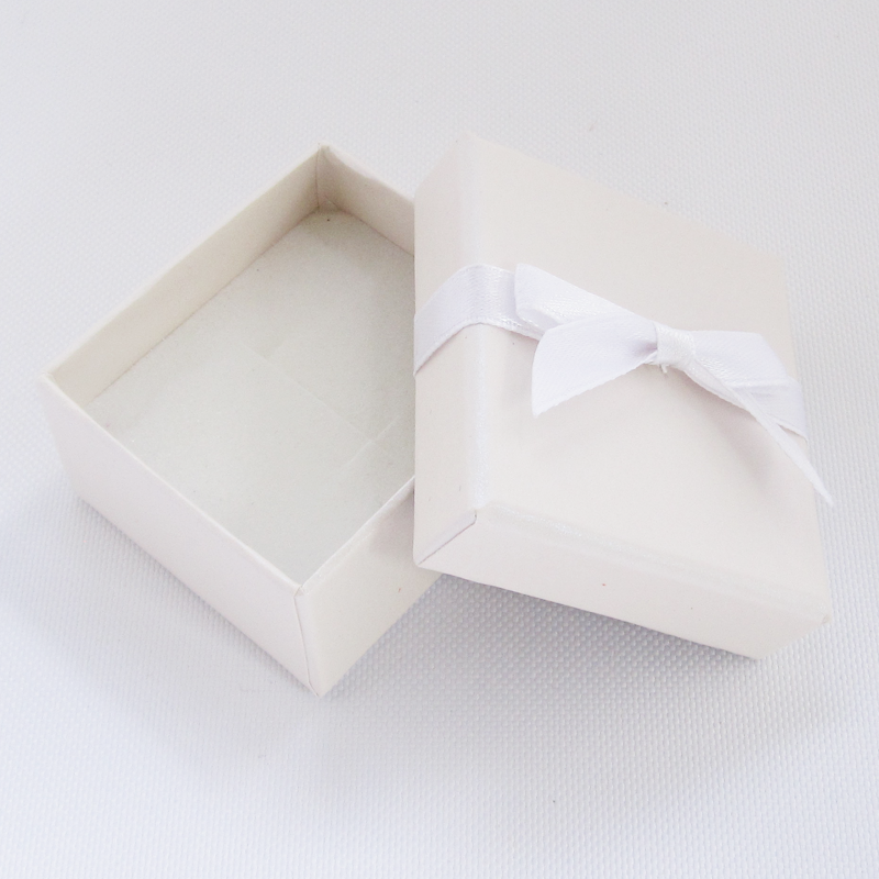 White Bow Ring and Earring Box