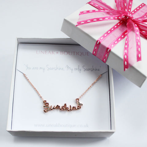 You are my Sunshine Rose Gold Plated Necklace