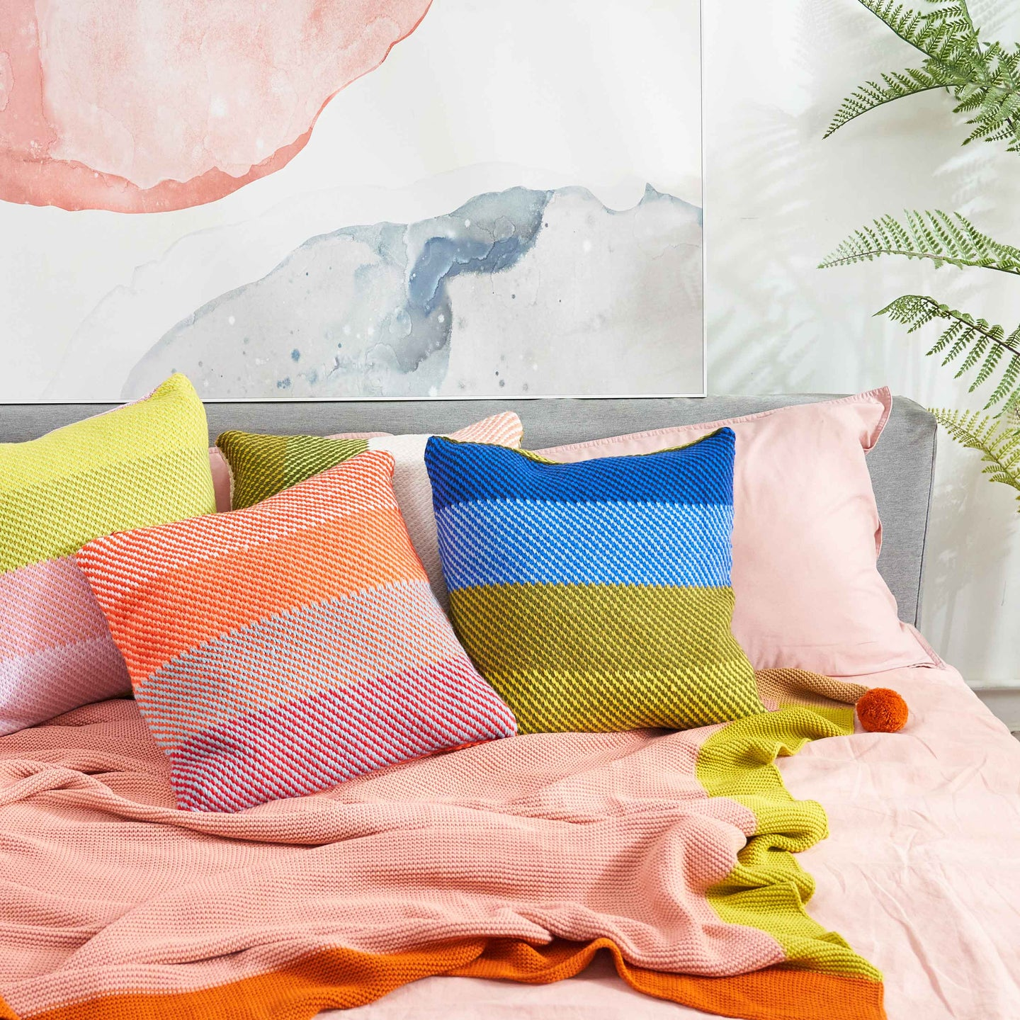 Slant Stripe Pillow Cover