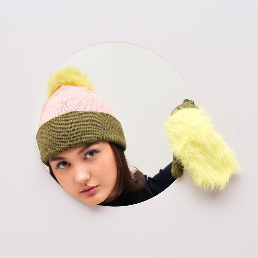 Colorblock Hat with Fur Pom