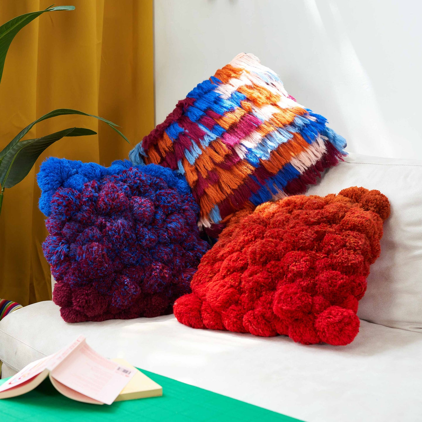 Gradient All-Over Pom Pillow