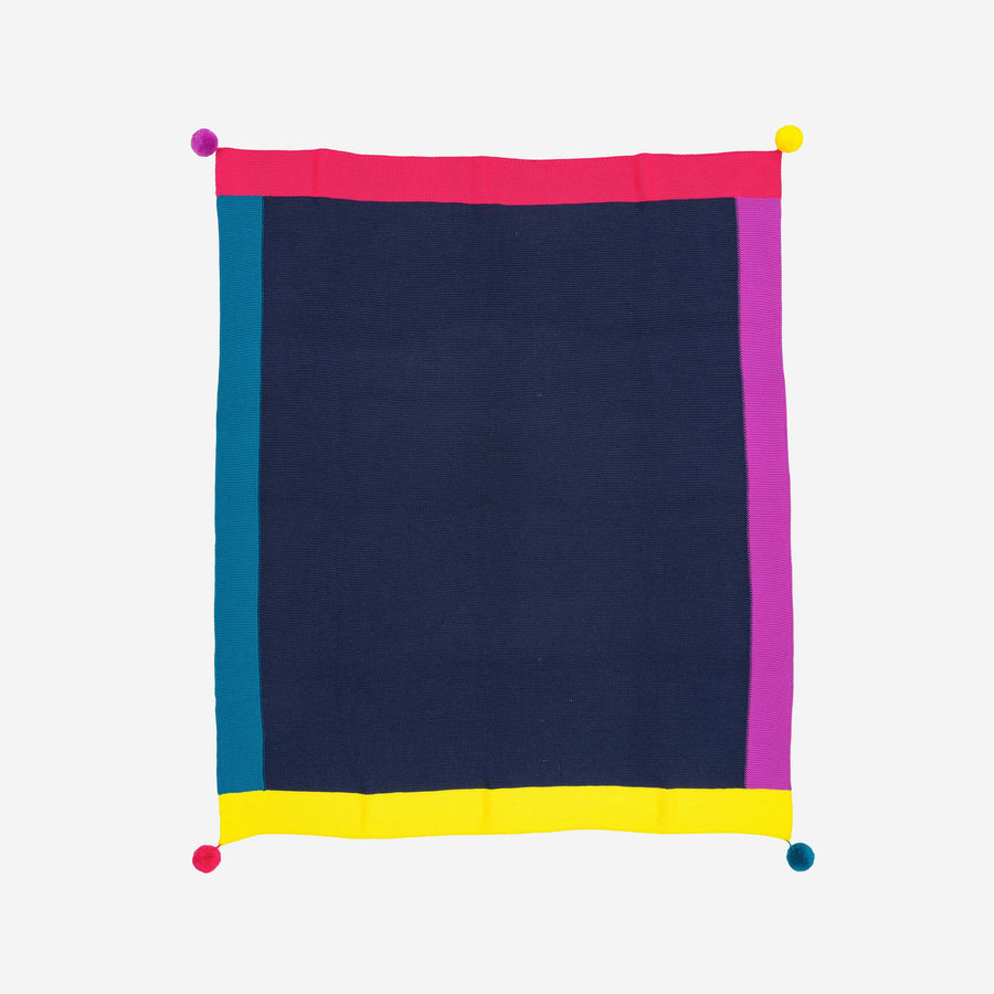 Navy | Colorblock Pom Borders Throw