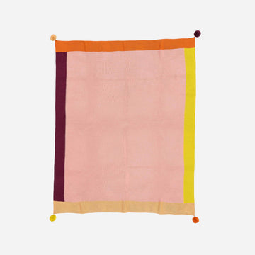 Pink | Colorblock Pom Borders Throw