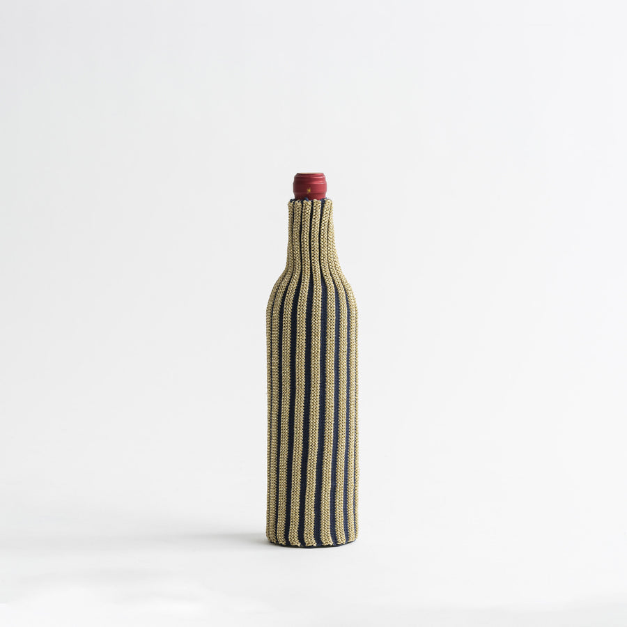 Navy Gold | Rib Knit Striped Bottle Sleeve