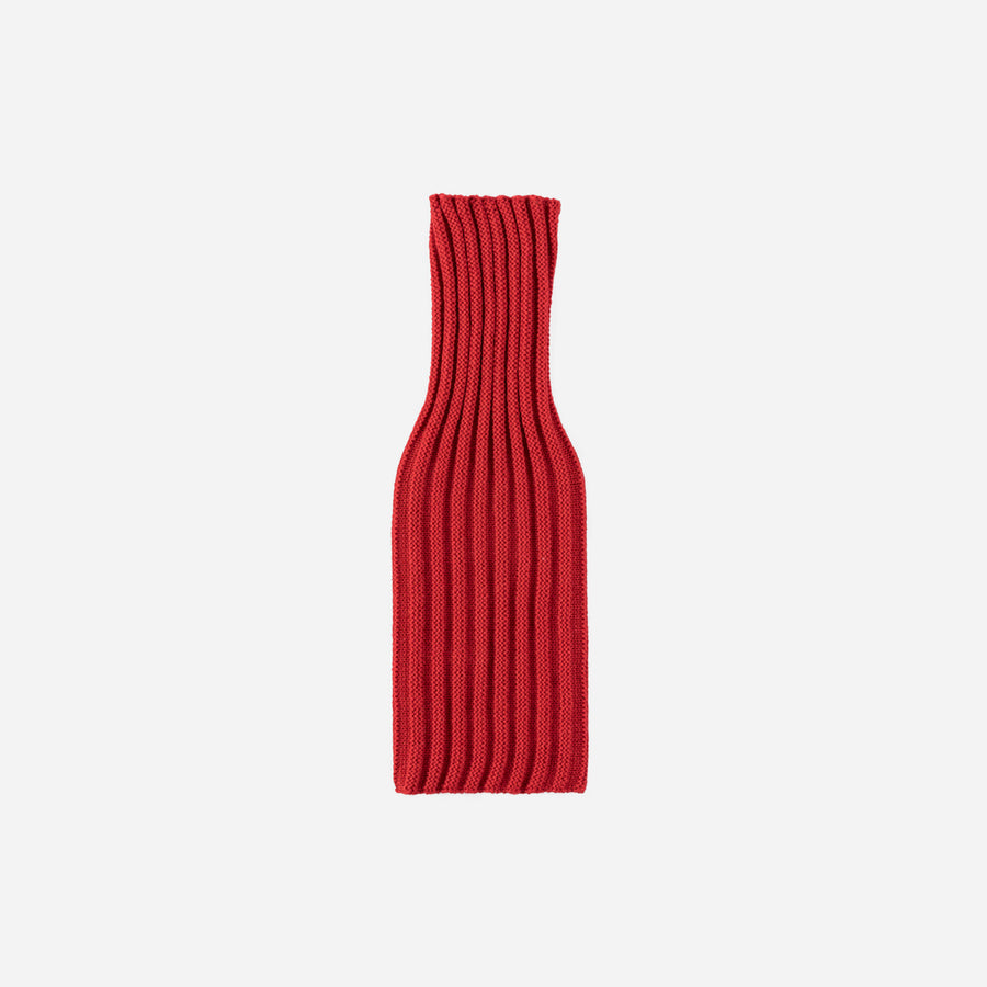 Red | Rib Knit Striped Bottle Sleeve