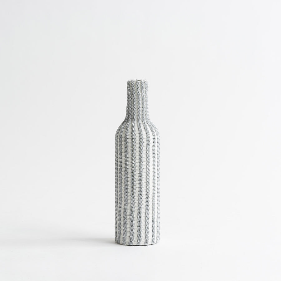 White Silver | Rib Knit Striped Bottle Sleeve