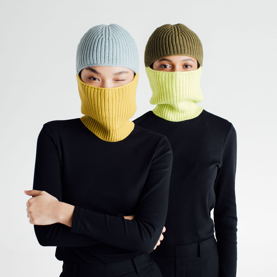 Ribbed Colorblock Balaclava
