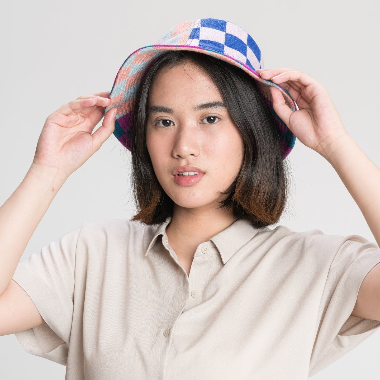 Checkerboard Patchwork Bucket Hat