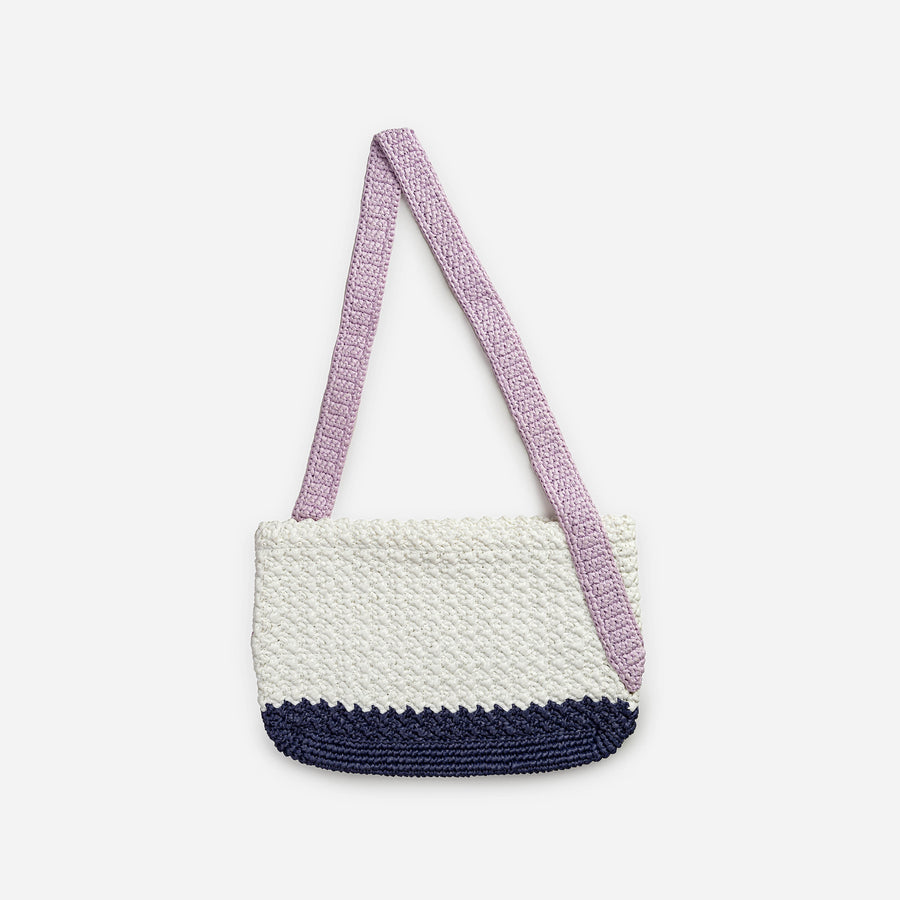 Lilac Navy | Colorblock Crochet Shoulder Bag
