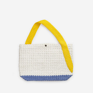 Yellow Dusty Violet | Colorblock Crochet Standard Tote