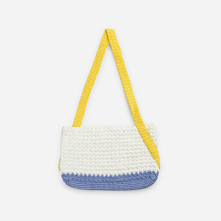 Yellow Dusty Violet | Colorblock Crochet Shoulder Bag