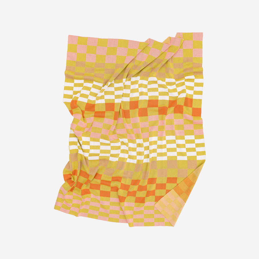 Camel Pink Rust | Albers Checkerboard Knit Throw Blanket